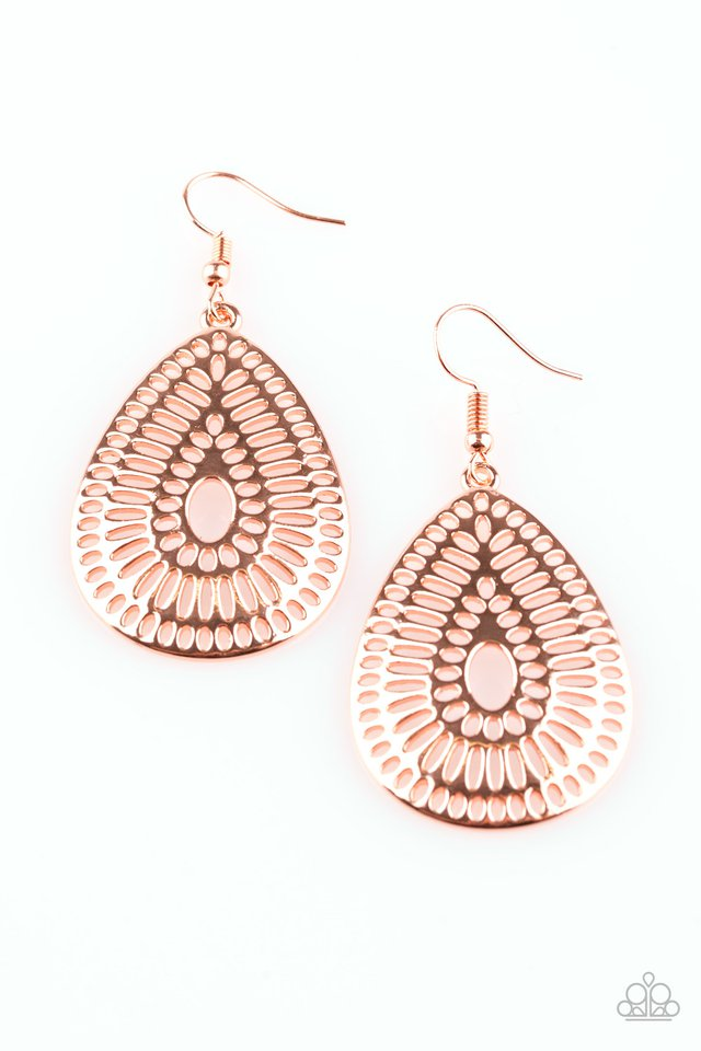 Paparazzi Accessories You Look GRATE! - Copper Earring - Be Adored Jewelry