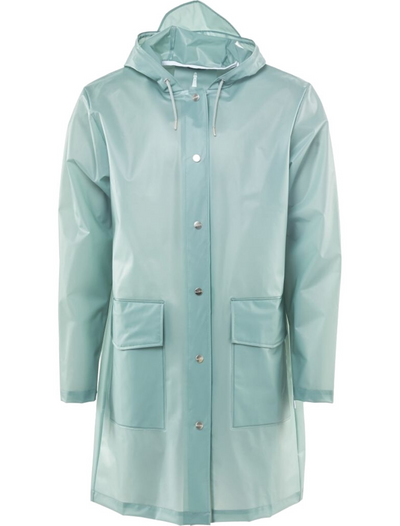 rains • long jacket • foggy dusty mint