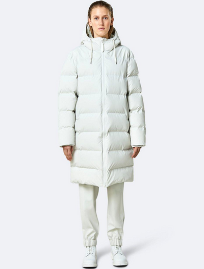 rains • long puffer jacket • off white