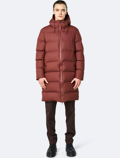 rains • long puffer jacket • maroon