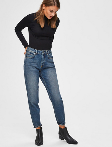 selected femme • high waist mom jeans • medium blue