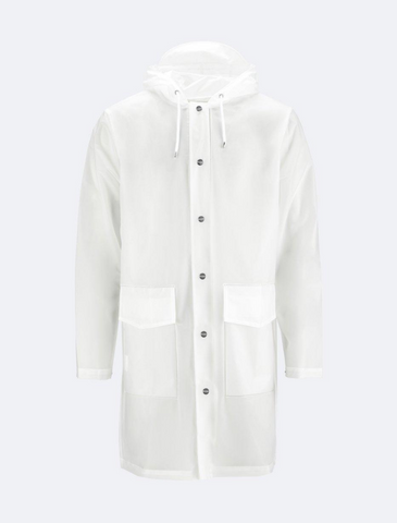 rains • transparent hooded coat • foggy white