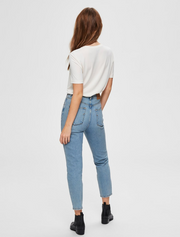 selected femme • high waist mom jeans • light blue