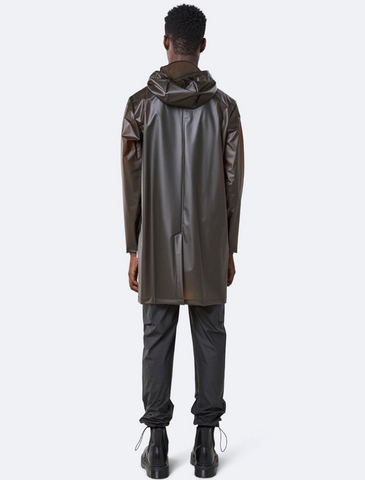 rains • transparent hooded coat • foggy brown