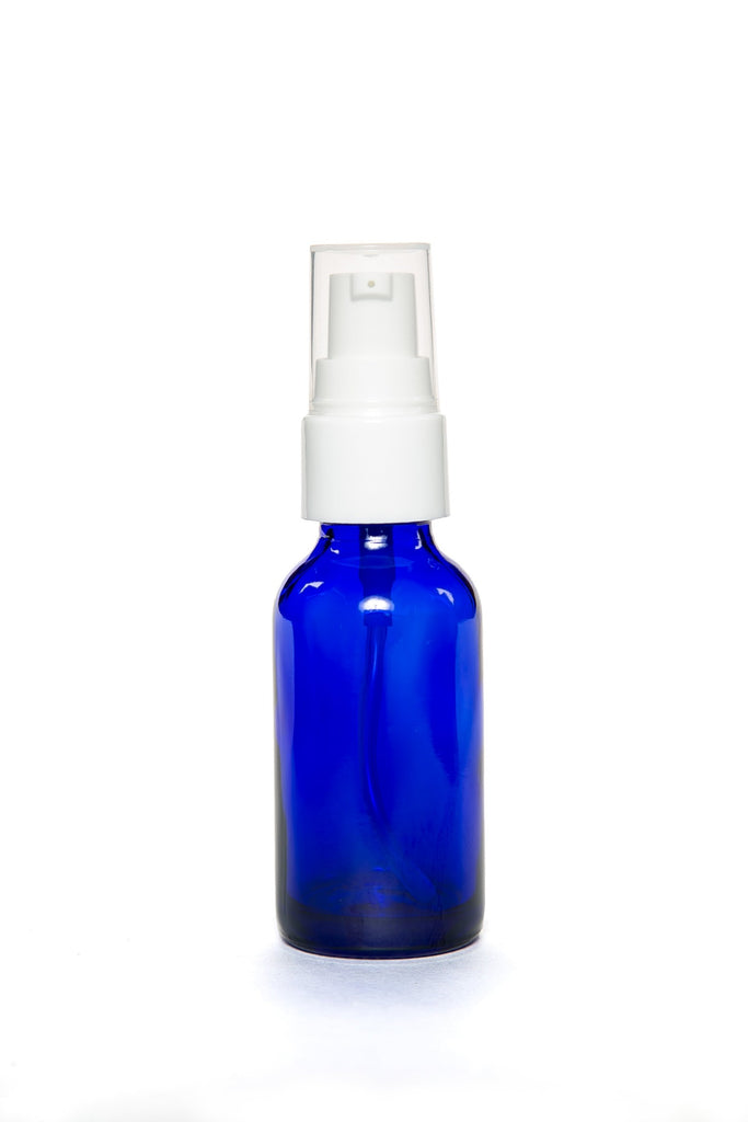 30ml blue cobalt glass bottle with pump