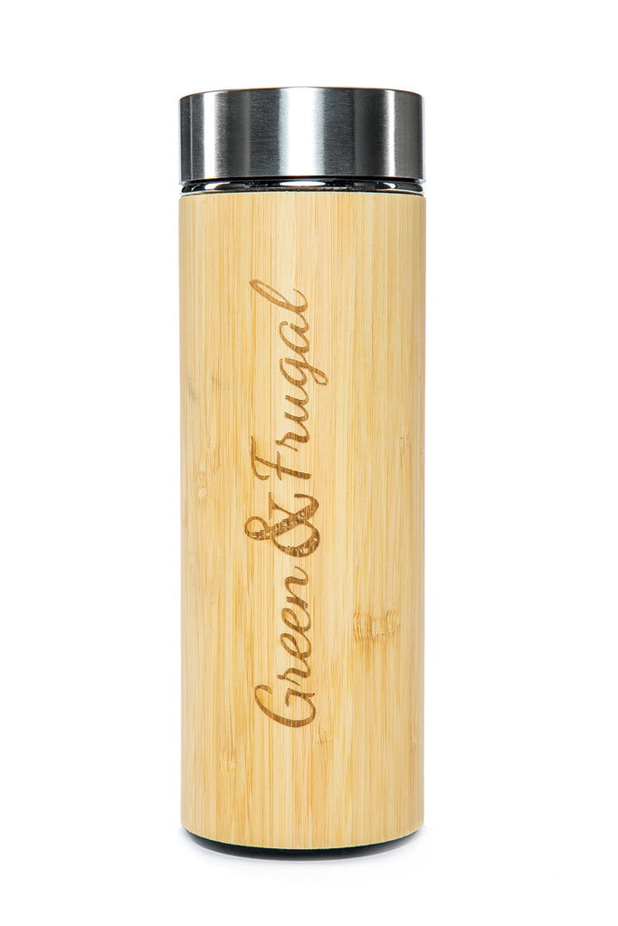 Stainless Steel and Bamboo Travel Mug