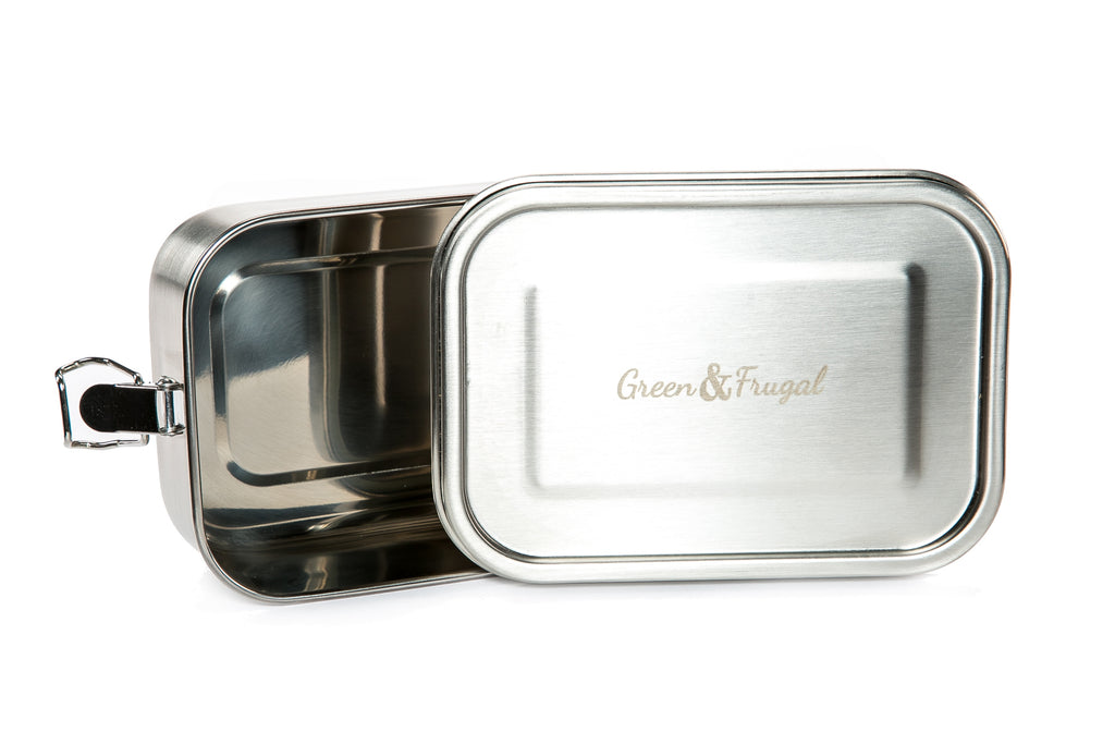 Stainless Steel, Rectangular Lunch Box with Clips