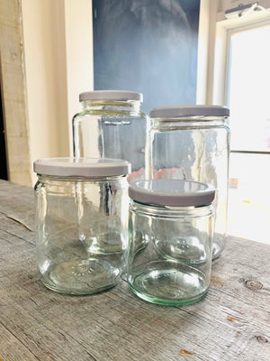 deposit jar, clear glass