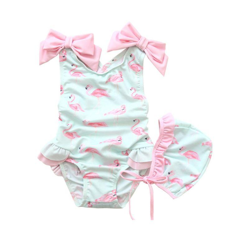 Adorable Flamingo bathing Suit with Cap - Aria & Sophia