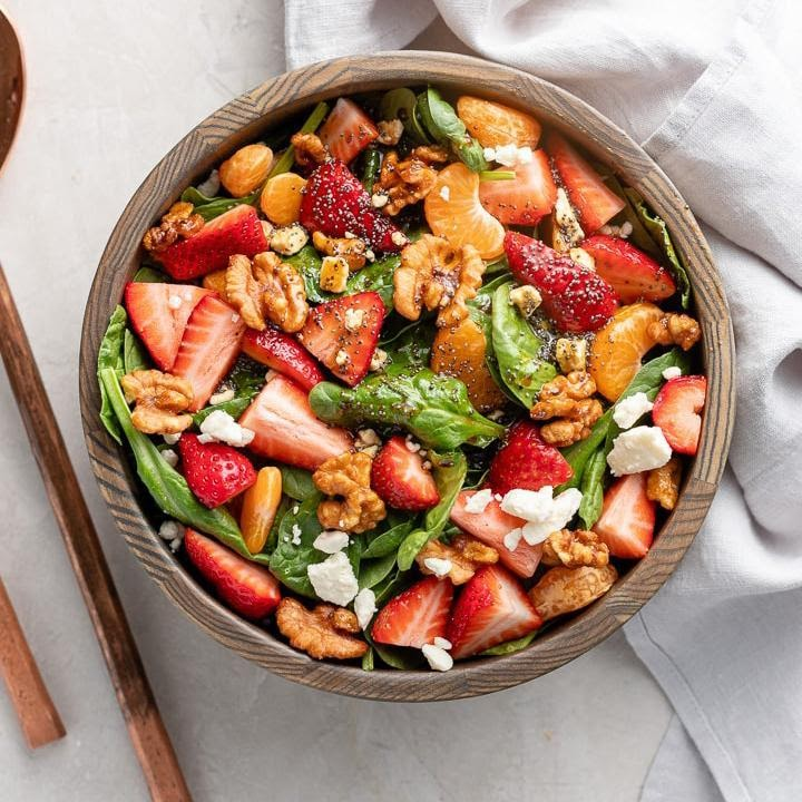 Spinach-Strawberry Salad with Feta & Walnuts Recipe