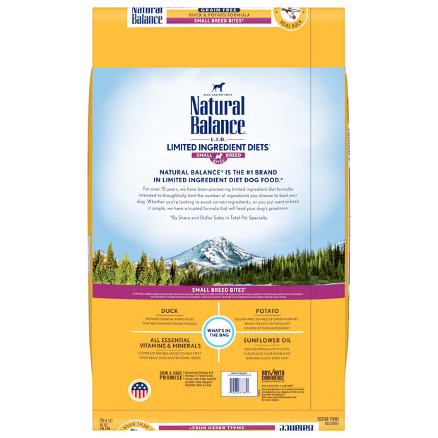 Natural Balance L.I.D. Limited Ingredient Diets Potato & Duck Small Breed Bites Dry Dog Food