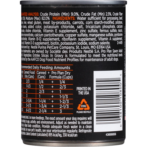 Purina Pro Plan Savor Adult Beef & Vegetables Slices in Gravy Canned Dog Food