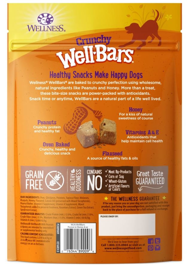 Wellness Natural Grain Free Wellbars Crunchy Peanut and Honey Recipe Dog Treats