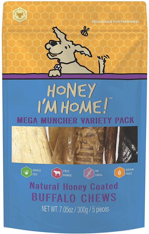 Honey I'm Home Natural Honey Coated Mega Muncher Variety Pack Buffalo Dog Chews