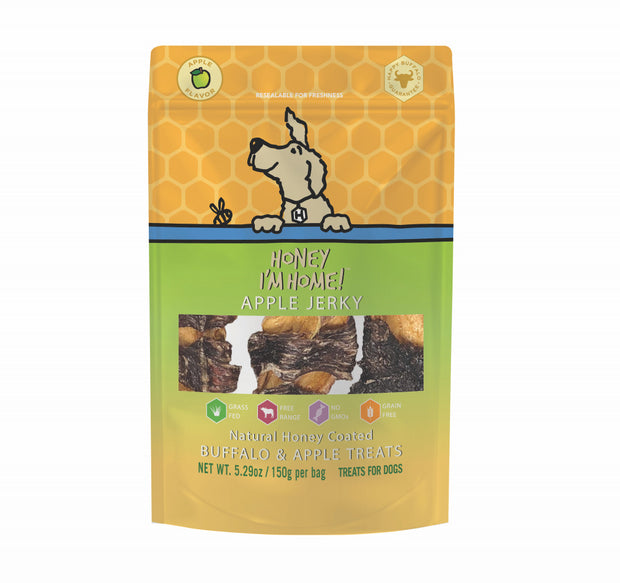 Honey I'm Home Natural Honey Coated Apple Jerky Buffalo Dog Treats
