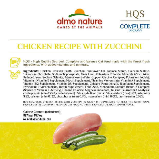 Almo Nature HQS Complete Cat Grain Free Chicken with Zucchini Canned Cat Food