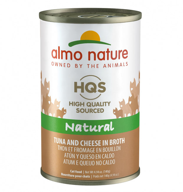 Almo Nature HQS Natural Cat Grain Free Additive Free Tuna with Cheese Canned Cat Food