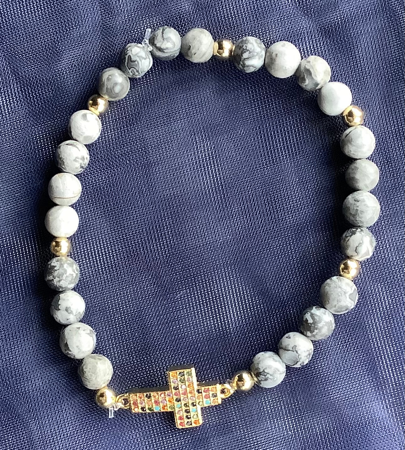 Cross Bracelet Natural Map Stone
