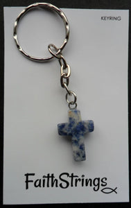 Blue Marbled Quartz Cross