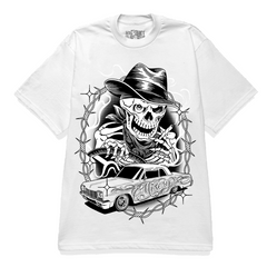 LET DEATH TAKE THE WHEEL GRAPHIC PRINT WHITE T-SHIRT