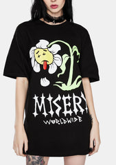 DEAD FLOWER GRAPHIC PRINT BLACK T-SHIRT
