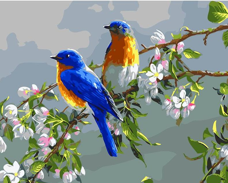 blue bird lovers on a flower branch easy bird paint by number kit