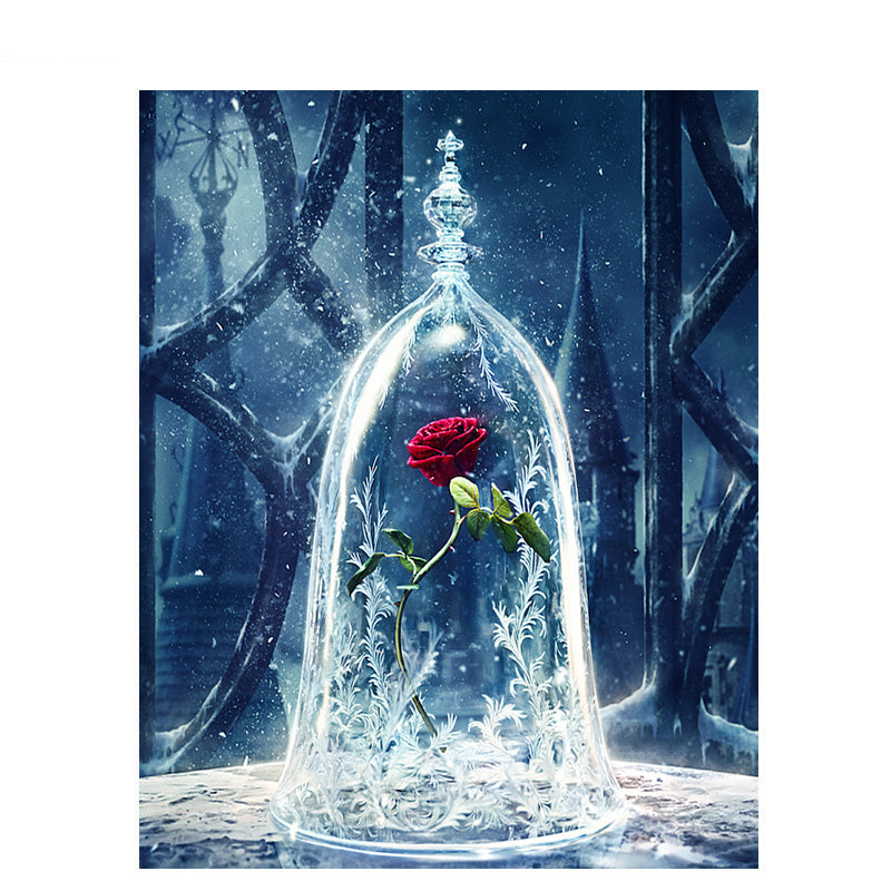 Beauty And The Beast Rose In Vase Diy Flower Paint By Numbers Kits