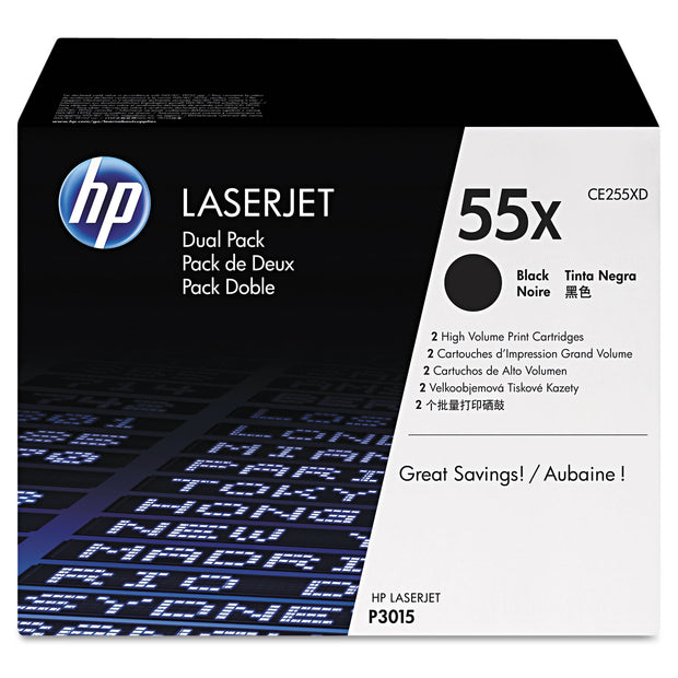 Hp 55x, (ce255x-D) 2-Pack High Yield Black Original Laserjet Toner Cartridges