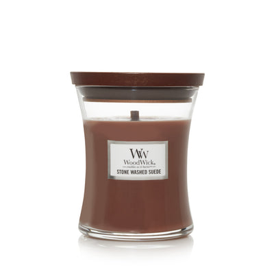 WoodWick Medium Hourglass Candle - Stone Washed Suede