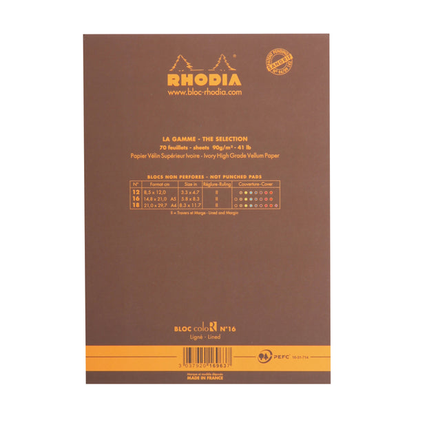 Rhodia ColoR Pads, Chocolate Cover, Ruled Pages. 6 x 8 1/4