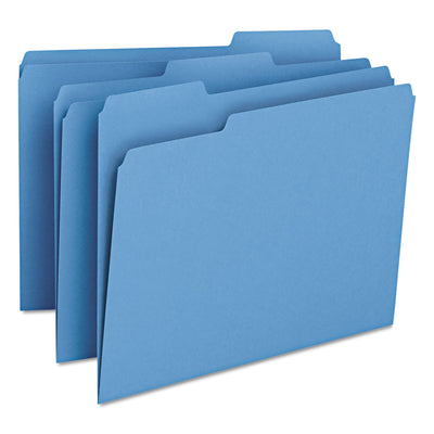 COLORED FILE FOLDERS, 1/3-CUT TABS, LETTER SIZE, BLUE, 100/BOX
