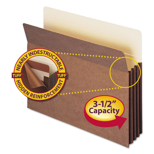 "REDROPE TUFF POCKET DROP-FRONT FILE POCKETS W/ FULLY LINED GUSSETS, 3.5"" EXPANSION, LETTER SIZE, REDROPE, 10/BOX"