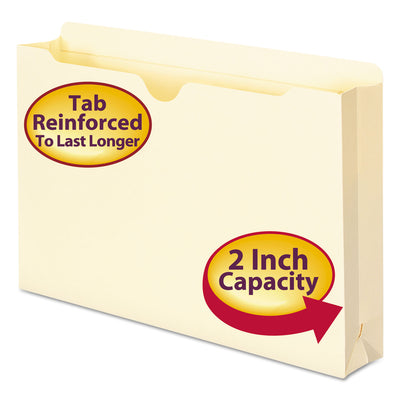 MANILA FILE JACKETS, 2-PLY STRAIGHT TAB, LEGAL SIZE, MANILA, 50/BOX