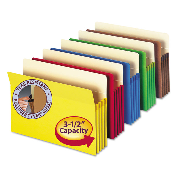 "COLORED FILE POCKETS, 3.5"" EXPANSION, LEGAL SIZE, ASSORTED, 5/PACK"