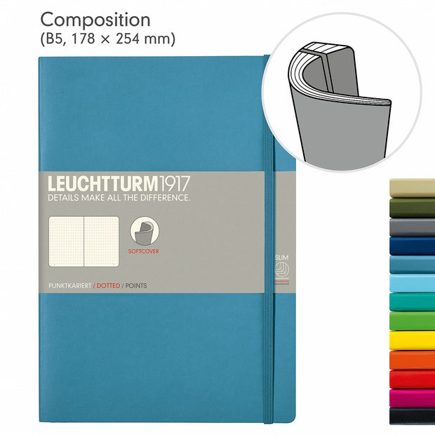 Leuchtturm Navy, Medium, Dotted Ruled Notebook, Softcover, 121 Numbered Pages