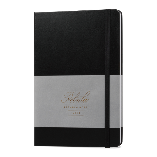 Nebula Hard Cover Notebook - A5 Size - Ruled - Ink Black