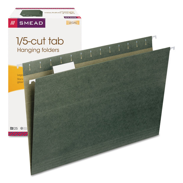 HANGING FOLDERS, LEGAL SIZE, 1/5-CUT TAB, STANDARD GREEN, 25/BOX