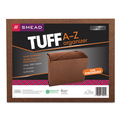 TUFF EXPANDING FILES, 21 SECTIONS, 1/21-CUT TAB, LETTER SIZE, REDROPE