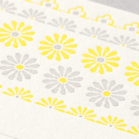 Midori Letterpress Stationery - Flower Line Yellow
