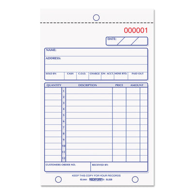 Sales Book, 4 1/4 X 6 3/8, Carbonless Triplicate, 50 Sets/book