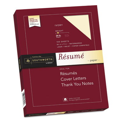 100% Cotton Resume Paper, 24 lb, 8.5 x 11, Ivory, 100/Pack