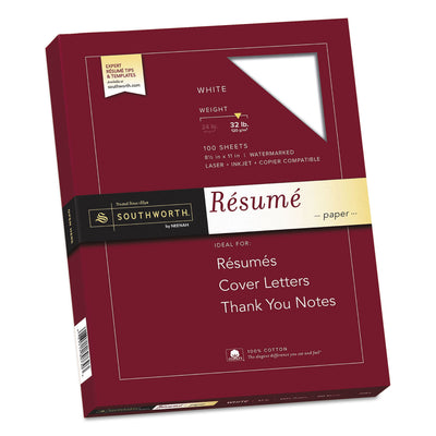 100% Cotton Resume Paper, 95 Bright, 32 lb, 8.5 x 11, White, 100/Pack