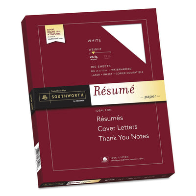 100% Cotton Resume Paper, 95 Bright, 24 lb, 8.5 x 11, White, 100/Pack