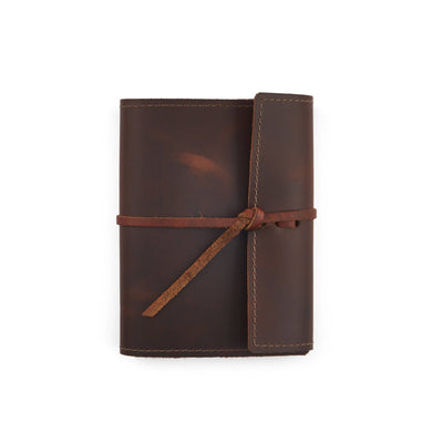Writers Log Small Refillable Leather Notebook - Saddle