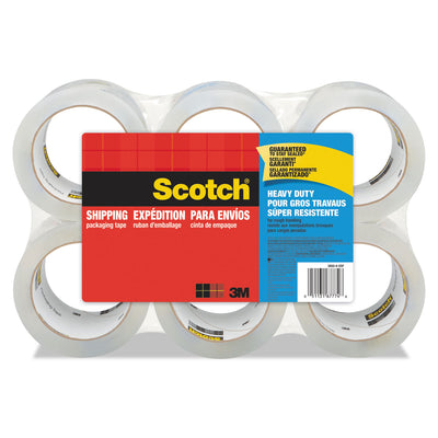 "3850 HEAVY-DUTY PACKAGING TAPE, 3"" CORE, 1.88"" X 54.6 YDS, CLEAR, 6/PACK"