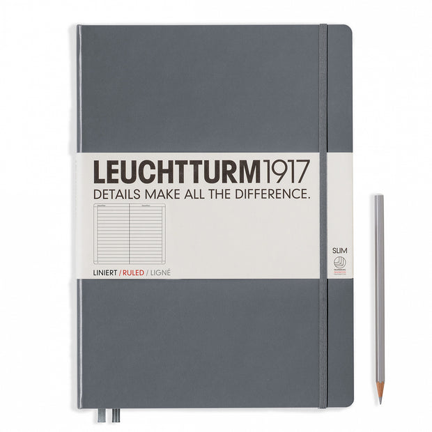 Leuchtturm A4+ Master Slim Hardcover Notebook - Anthracite Grey - Ruled
