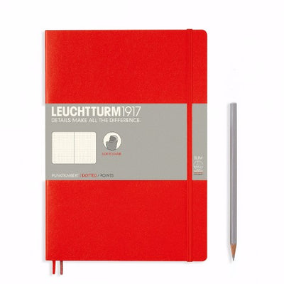 Leuchtturm Red, Medium, Dotted Ruled Notebook, Softcover, 121 Numbered Pages