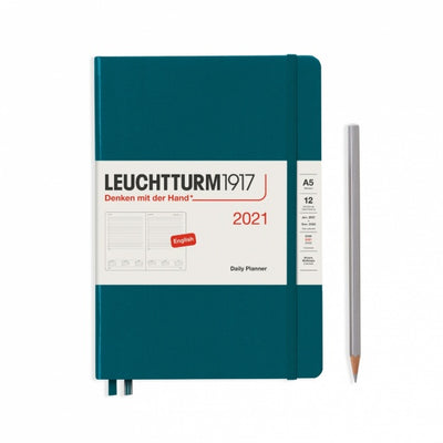 "Daily Planner - Medium (A5) 5 3/4"" x 8 1/4"" - Pacific Green"
