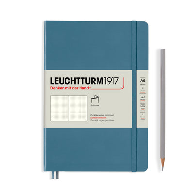 Leuchtturm A5 Softcover Notebook - Stone Blue - Dot Grid