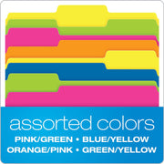 Twisted Glow File Folders, Letter Size, Assorted Colors, 1/3 Cut, 12/PK